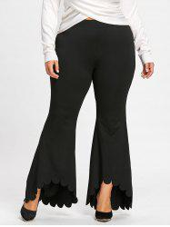 Plus Size Scalloped Edge Dip Hem Flare Pants -