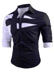 Button Up Long Sleeve Color Block Shirt -