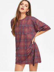 Checked Short Sleeve Shift T Shirt Dress -