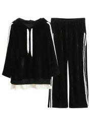 Striped Velvet Hoodie and Wide Leg Pants -