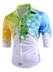 Colored Paint Splatter Long Sleeve Shirt -