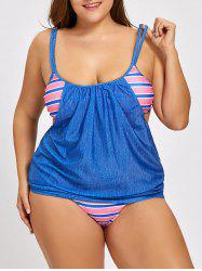 Plus Size Blouson Striped Panel Tankini Swimsuit -