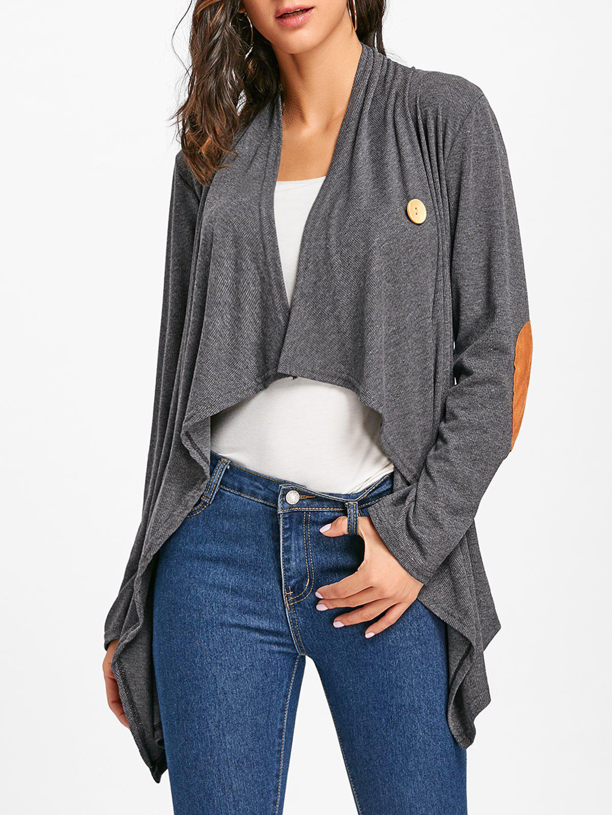 Discount Elbow Patch Asymmetric Cardigan
