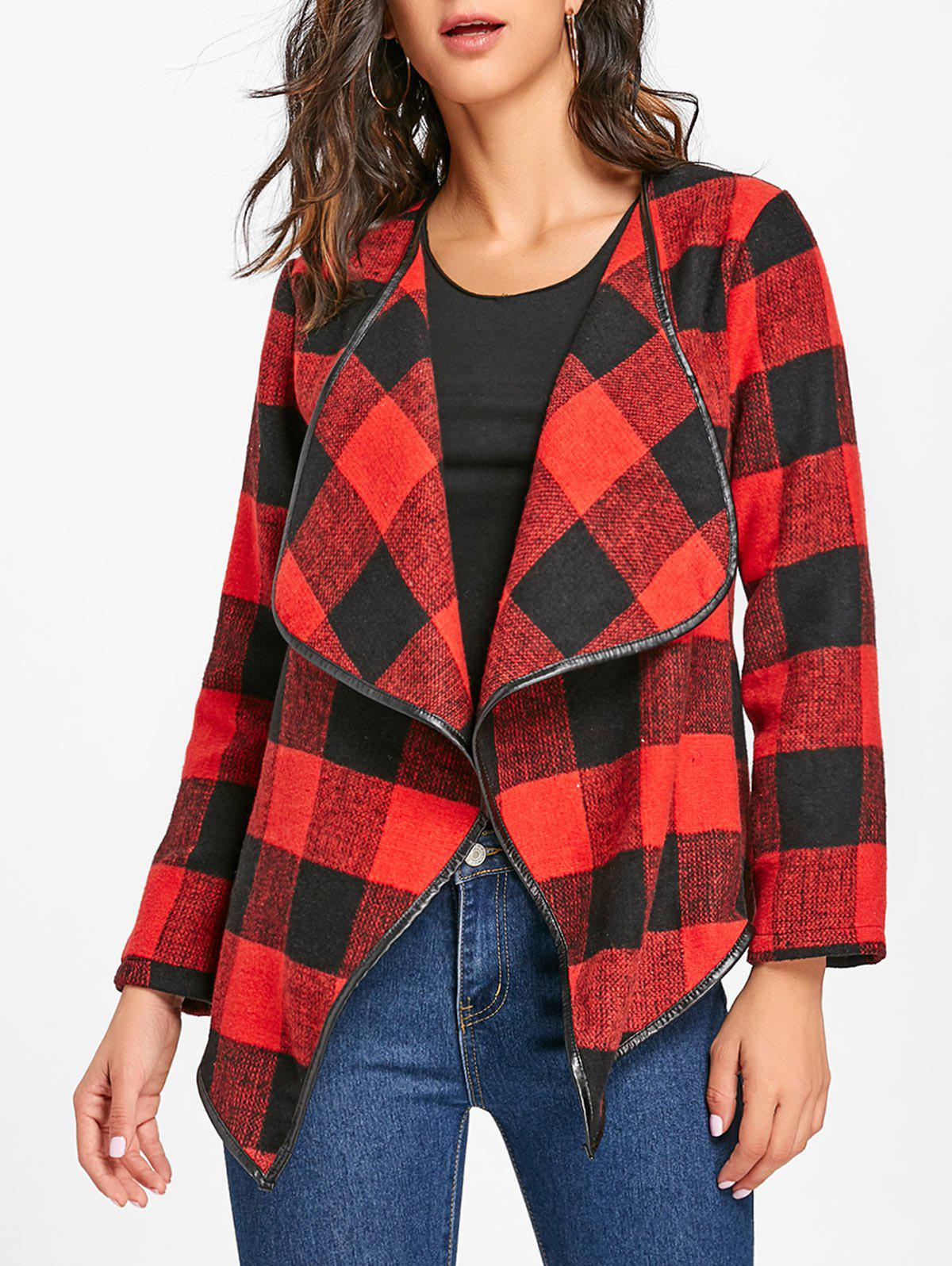 Fancy Turndown Collar Plaid Jacket
