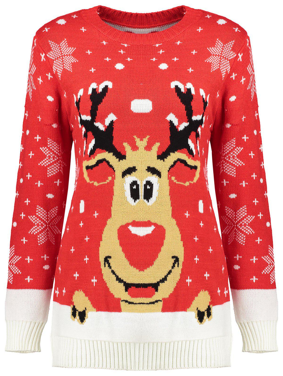 Snowflake Reindeer Christmas SweaterWOMEN<br><br>Size: ONE SIZE; Color: RED; Type: Pullovers; Material: Acrylic; Sleeve Length: Full; Collar: Crew Neck; Style: Fashion; Pattern Type: Animal; Season: Fall,Spring; Weight: 0.5000kg; Package Contents: 1 x Sweater;