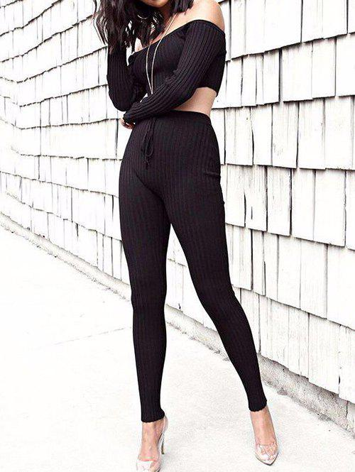 Cheap Off The Shoulder Ribbed Skinny Suit