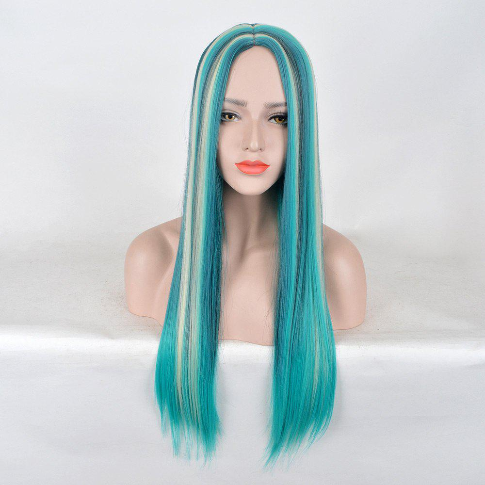 Affordable Long Center Parting Colormix Straight Party Synthetic Wig