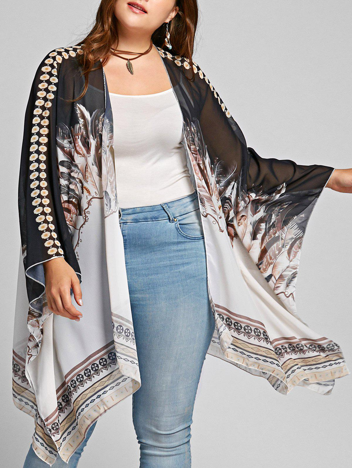 Feather Print Open Front Plus Size Poncho CoatWOMEN<br><br>Size: ONE SIZE; Color: COLORMIX; Clothes Type: Others; Material: Polyester; Type: Asymmetric Length; Shirt Length: Long; Sleeve Length: Full; Sleeve Type: Batwing Sleeve; Collar: Collarless; Pattern Type: Feather; Style: Fashion; Season: Fall,Spring; With Belt: No; Weight: 0.2300kg; Package Contents: 1 x Coat;