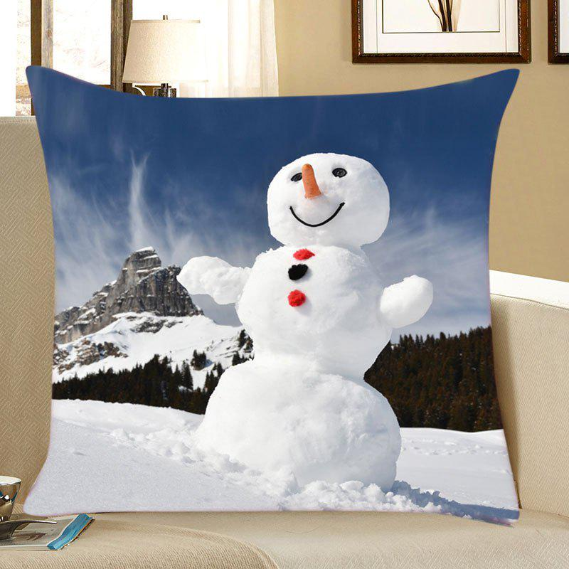Christmas Mountain Snowman Print Decorative Linen PillowcaseHOME<br><br>Size: W18 INCH * L18 INCH; Color: WHITE; Material: Linen; Pattern: Snowman; Style: Festival; Shape: Square; Weight: 0.0700kg; Package Contents: 1 x Pillowcase;
