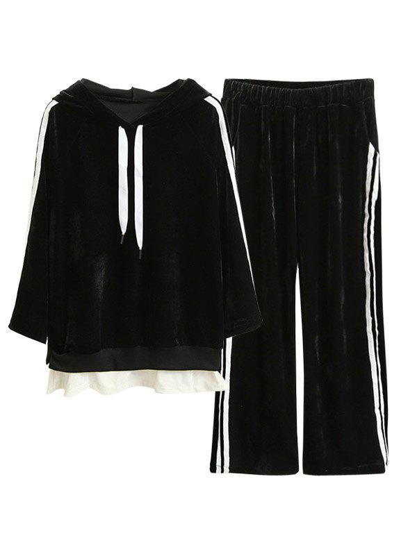 Discount Striped Velvet Hoodie and Wide Leg Pants