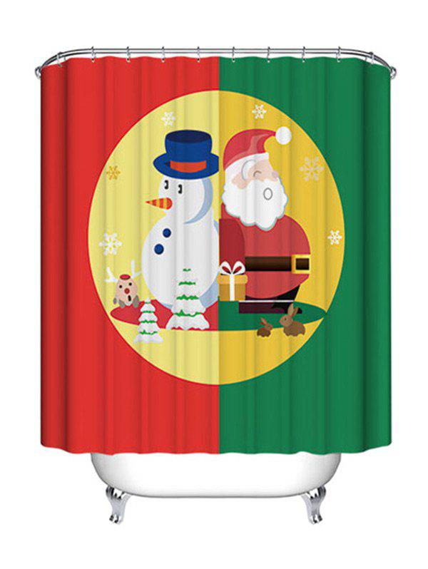 Christmas Snowman Santa Claus Print Waterproof Fabric Bathroom Shower Curtain