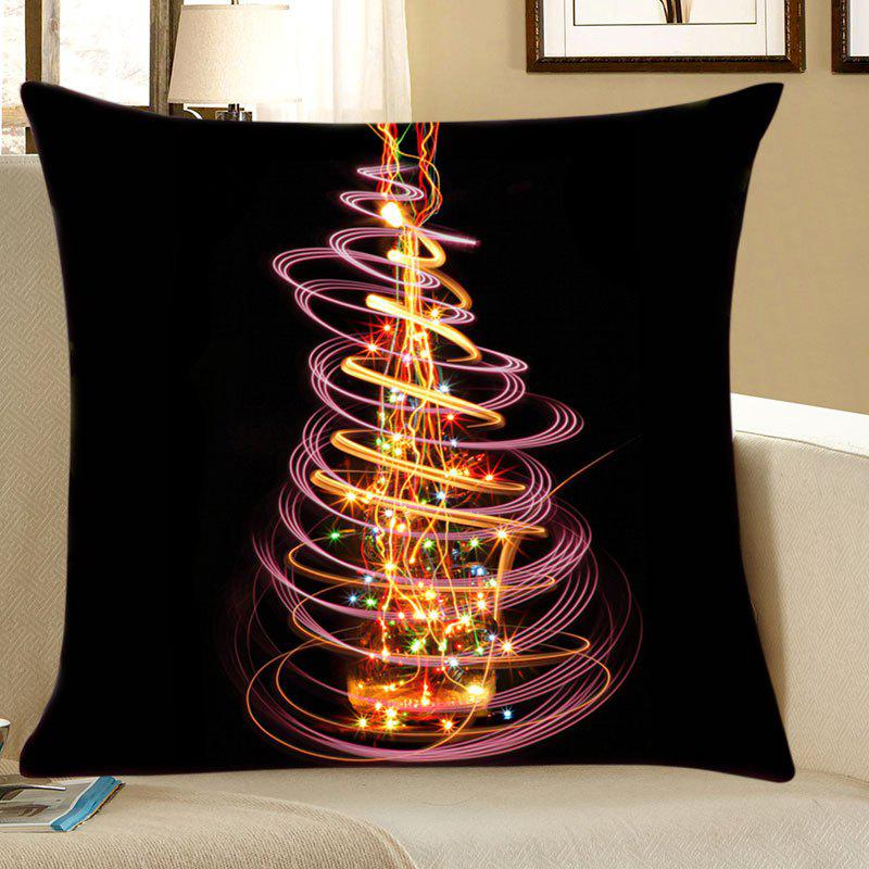 Christmas Light Tree Print Decorative Linen PillowcaseHOME<br><br>Size: W18 INCH * L18 INCH; Color: COLORFUL; Material: Linen; Pattern: Christmas Tree; Style: Festival; Shape: Square; Weight: 0.0700kg; Package Contents: 1 x Pillowcase;