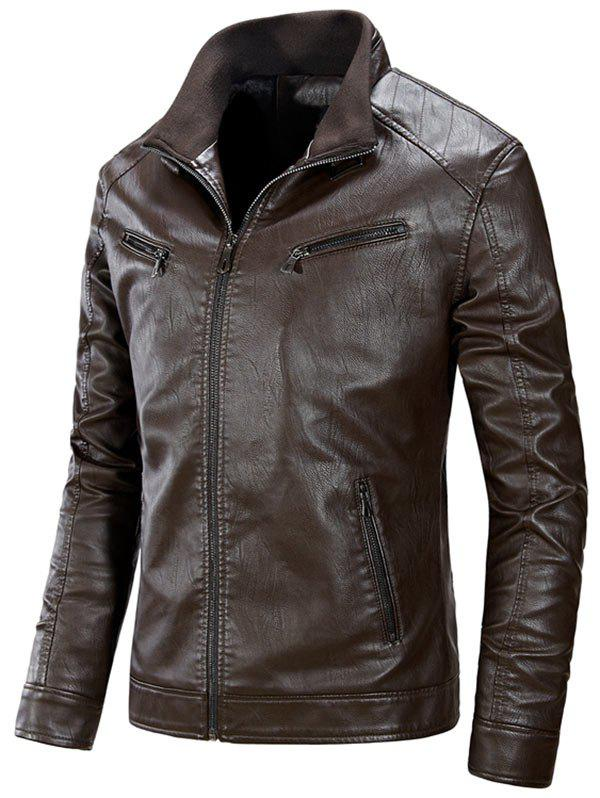 Flocage Zip Up PU Veste en Cuir Café XL