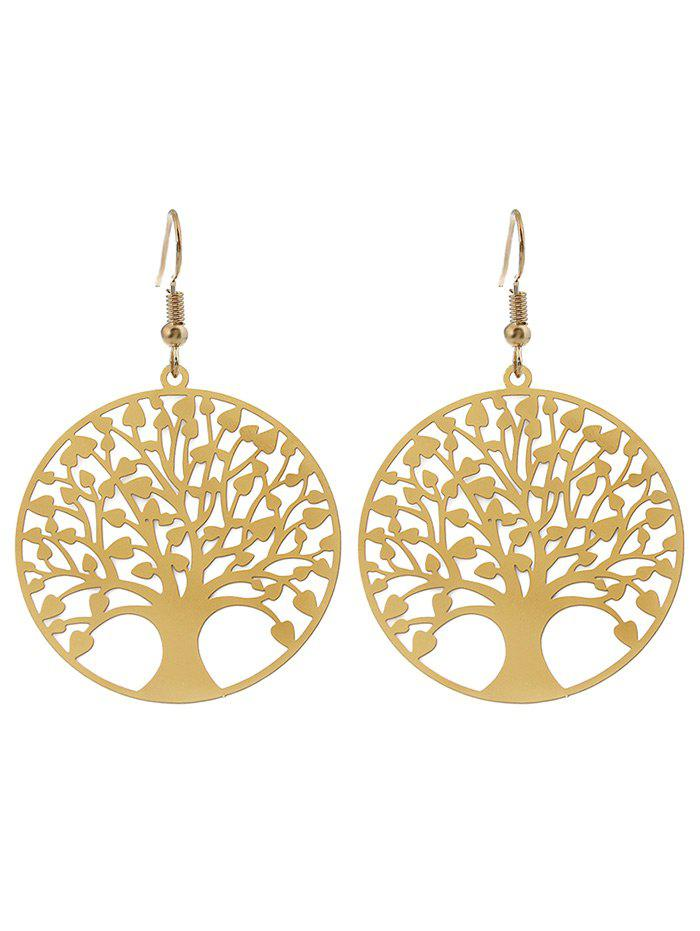 Tree of Life Round Drop EarringsJEWELRY<br><br>Color: GOLDEN; Earring Type: Drop Earrings; Gender: For Women; Style: Trendy; Shape/Pattern: Round; Length: 4.8CM; Weight: 0.0400kg; Package Contents: 1 x Earring (Pair);