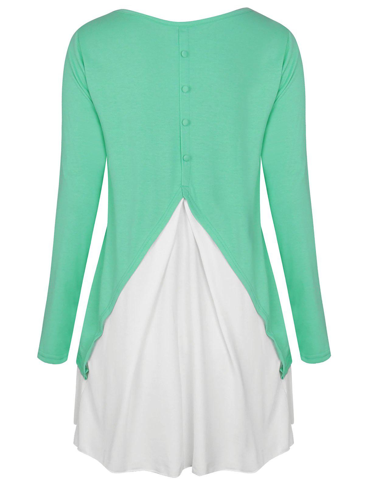 Affordable Two Tone Button Embellished High Low T-shirt