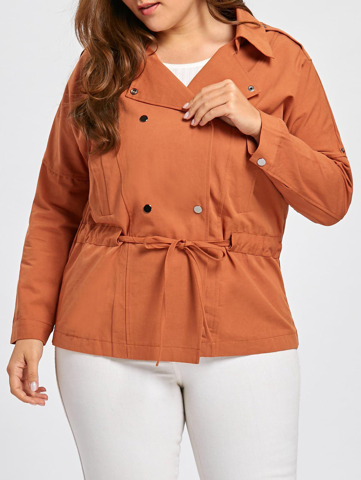 Outfit Double Breasted Drawstring Plus Size Jacket