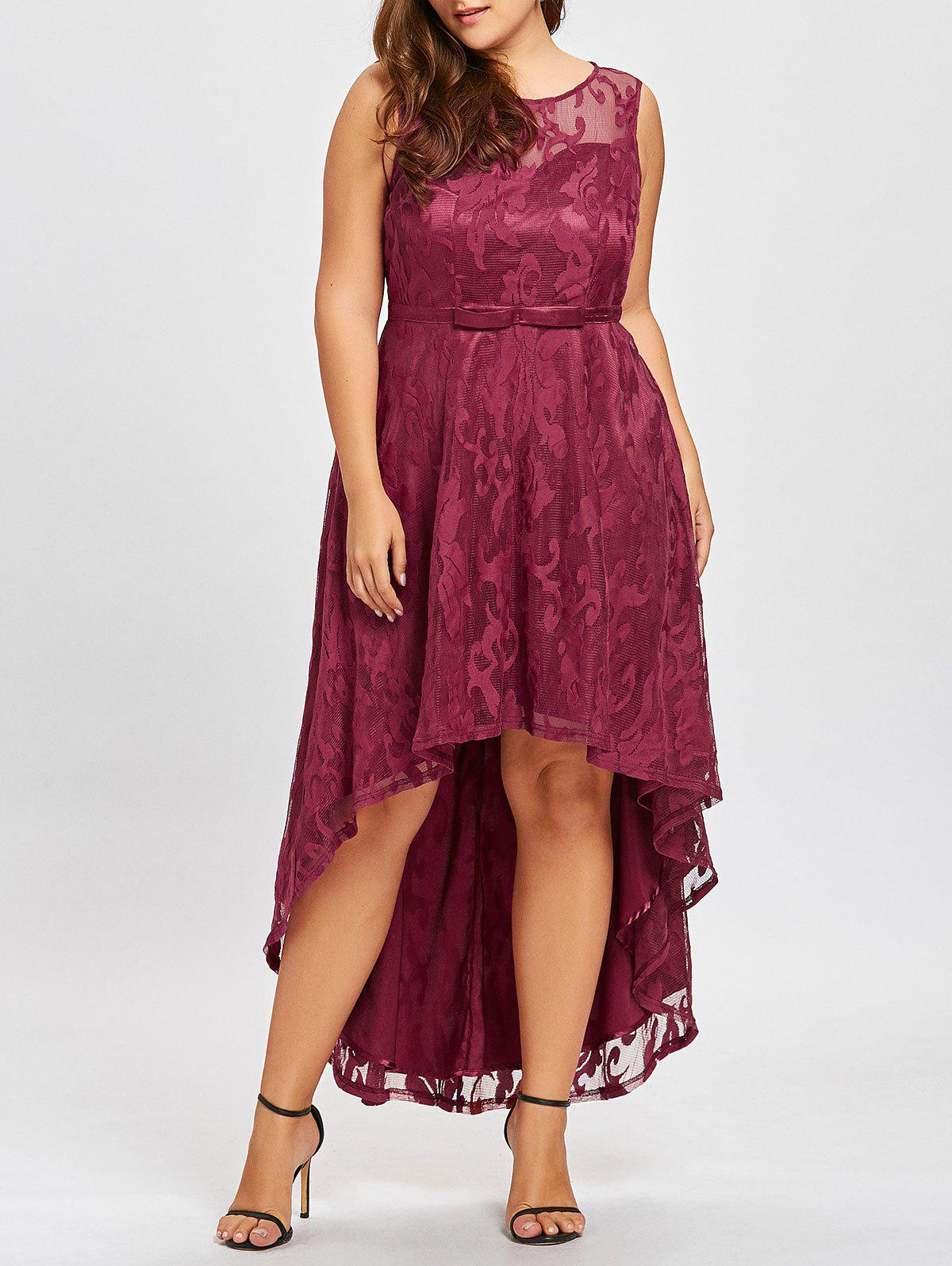 Fancy Plus Size Lace Dip Hem Evening Dress