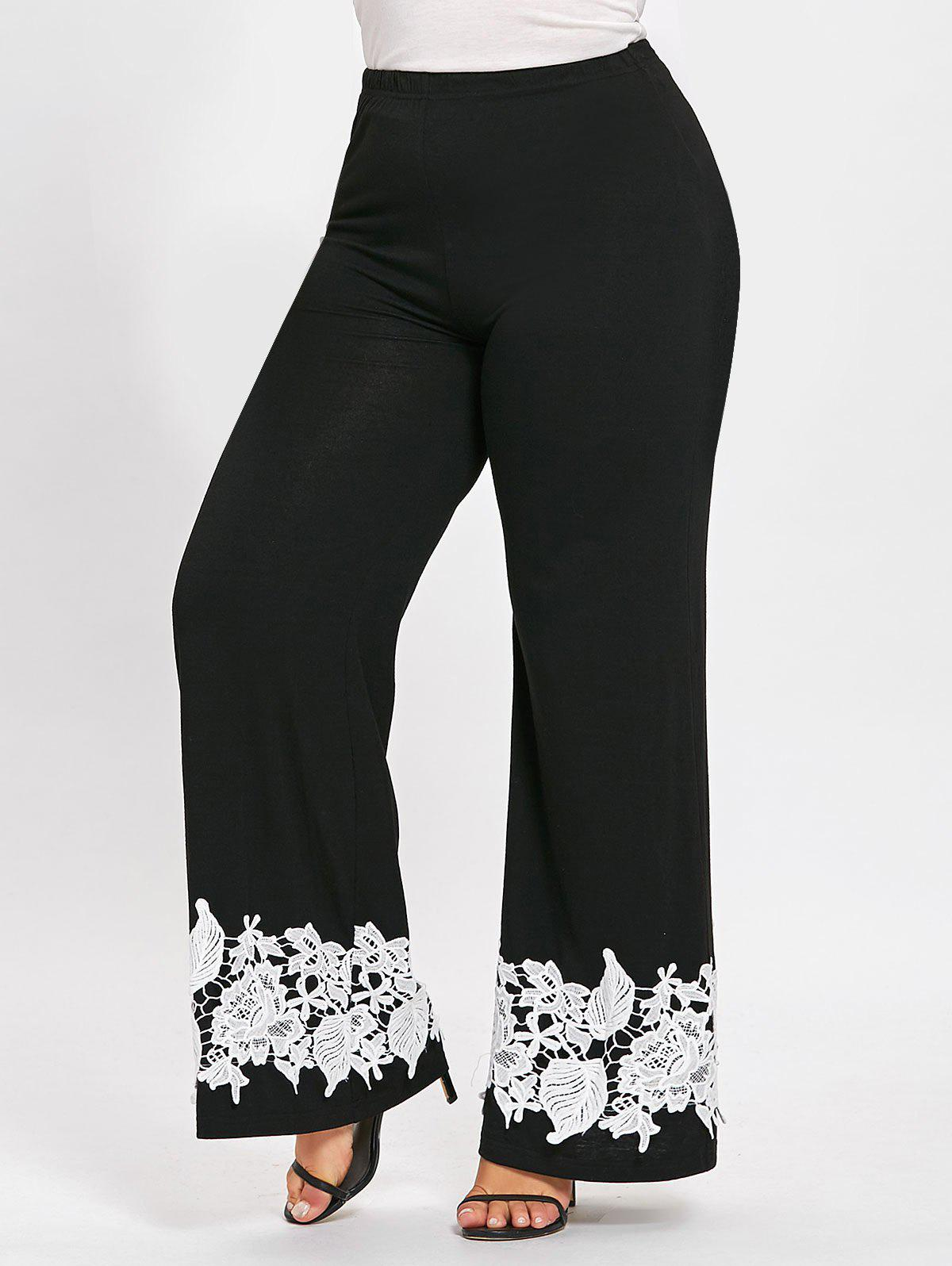 Plus Size Floral Appliqued Palazzo PantsWOMEN<br><br>Size: XL; Color: BLACK; Style: Casual; Length: Overlength; Material: Polyester,Spandex; Fit Type: Loose; Waist Type: Mid; Closure Type: Elastic Waist; Pattern Type: Floral; Embellishment: Appliques; Pant Style: Wide Leg Pants; Weight: 0.4000kg; Package Contents: 1 x Pants;