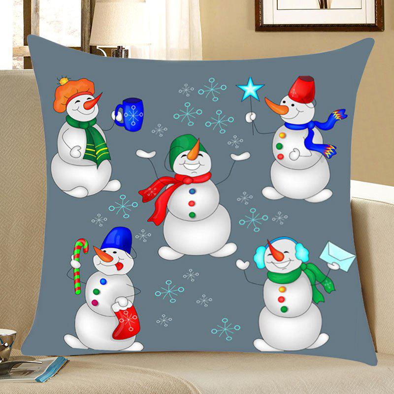Christmas Snowmen Party Print Decorative Linen PillowcaseHOME<br><br>Size: W18 INCH * L18 INCH; Color: COLORFUL; Material: Linen; Pattern: Snowman; Style: Festival; Shape: Square; Weight: 0.0700kg; Package Contents: 1 x Pillowcase;