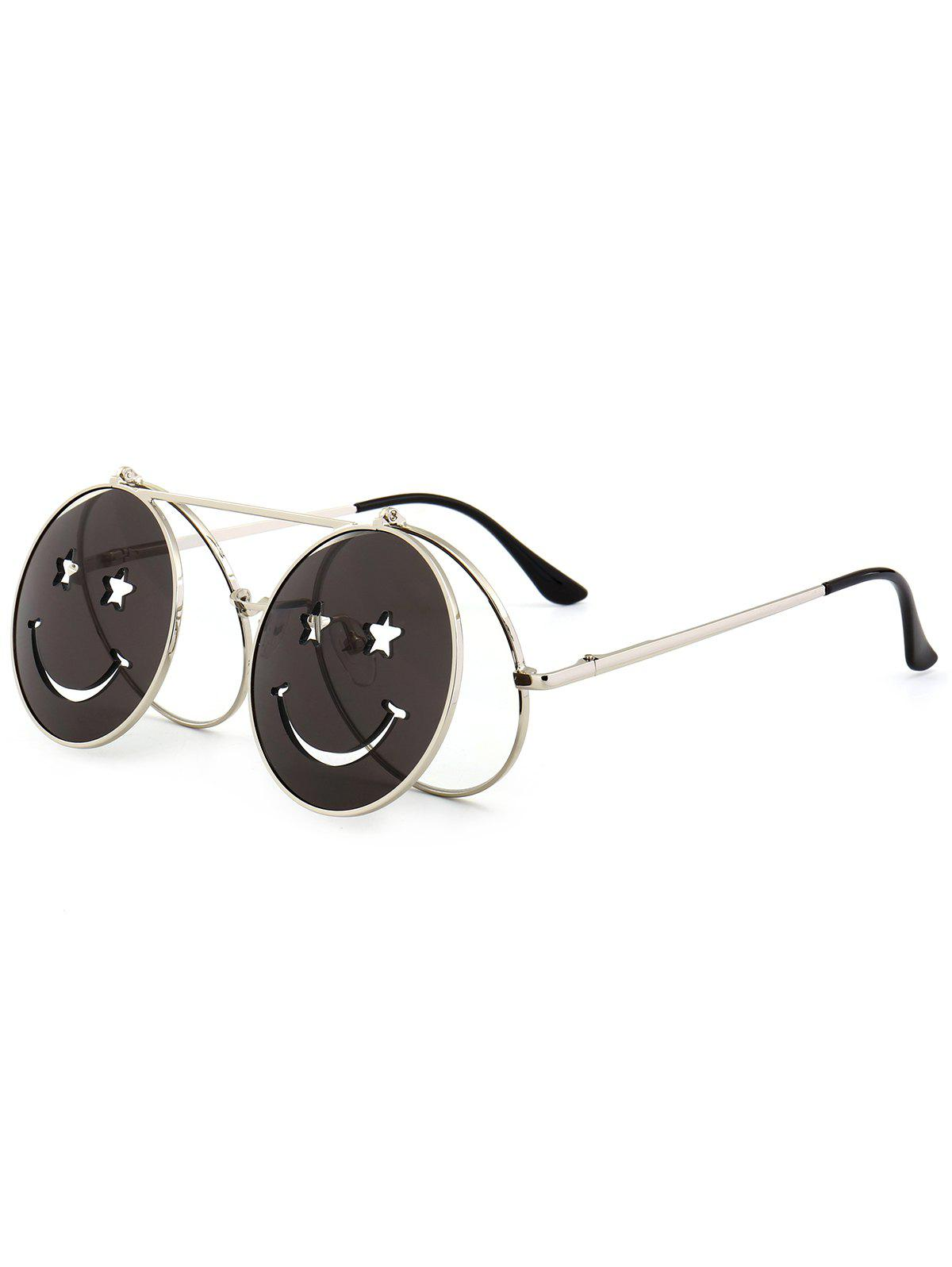 Store Funny Smiling Face Flip-open Round Shape Sunglasses