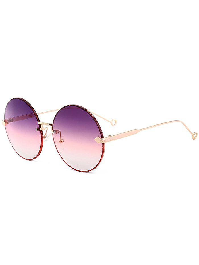 Vintage Arrow Embellished Rimless Round Sunglasses, Light purple