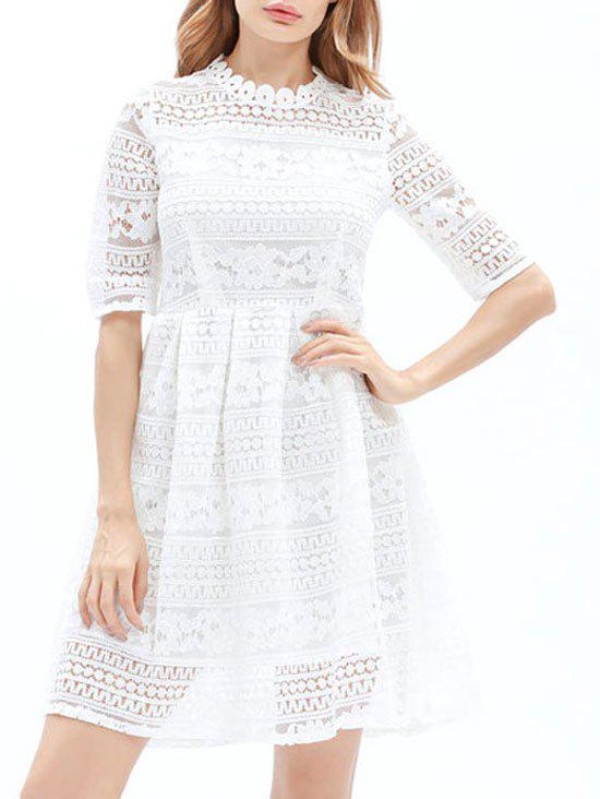 Sale Lace Embroidered Mini A Line Dress