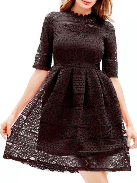 Discount Lace Embroidered Mini A Line Dress