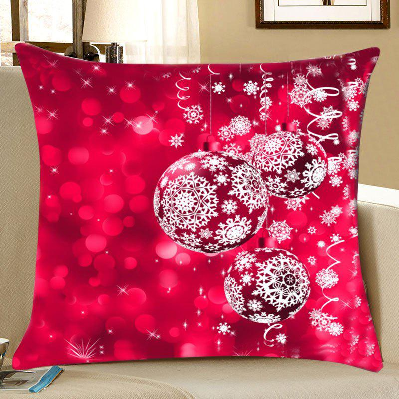 Christmas Snowflake Baubles Print Decorative Linen PillowcaseHOME<br><br>Size: W18 INCH * L18 INCH; Color: COLORMIX; Material: Linen; Pattern: Baubles,Snowflake; Style: Festival; Shape: Square; Weight: 0.0700kg; Package Contents: 1 x Pillowcase;