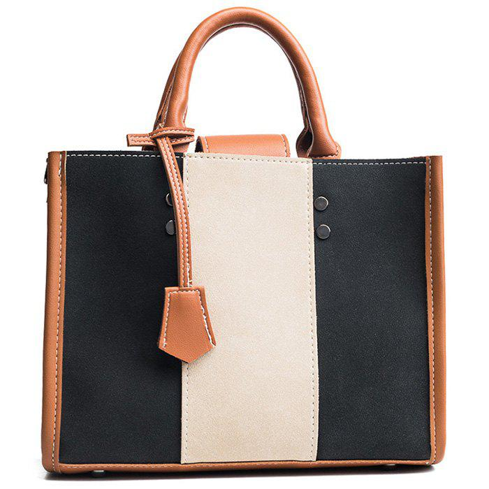 Online Striped Color Block Stitching Handbag