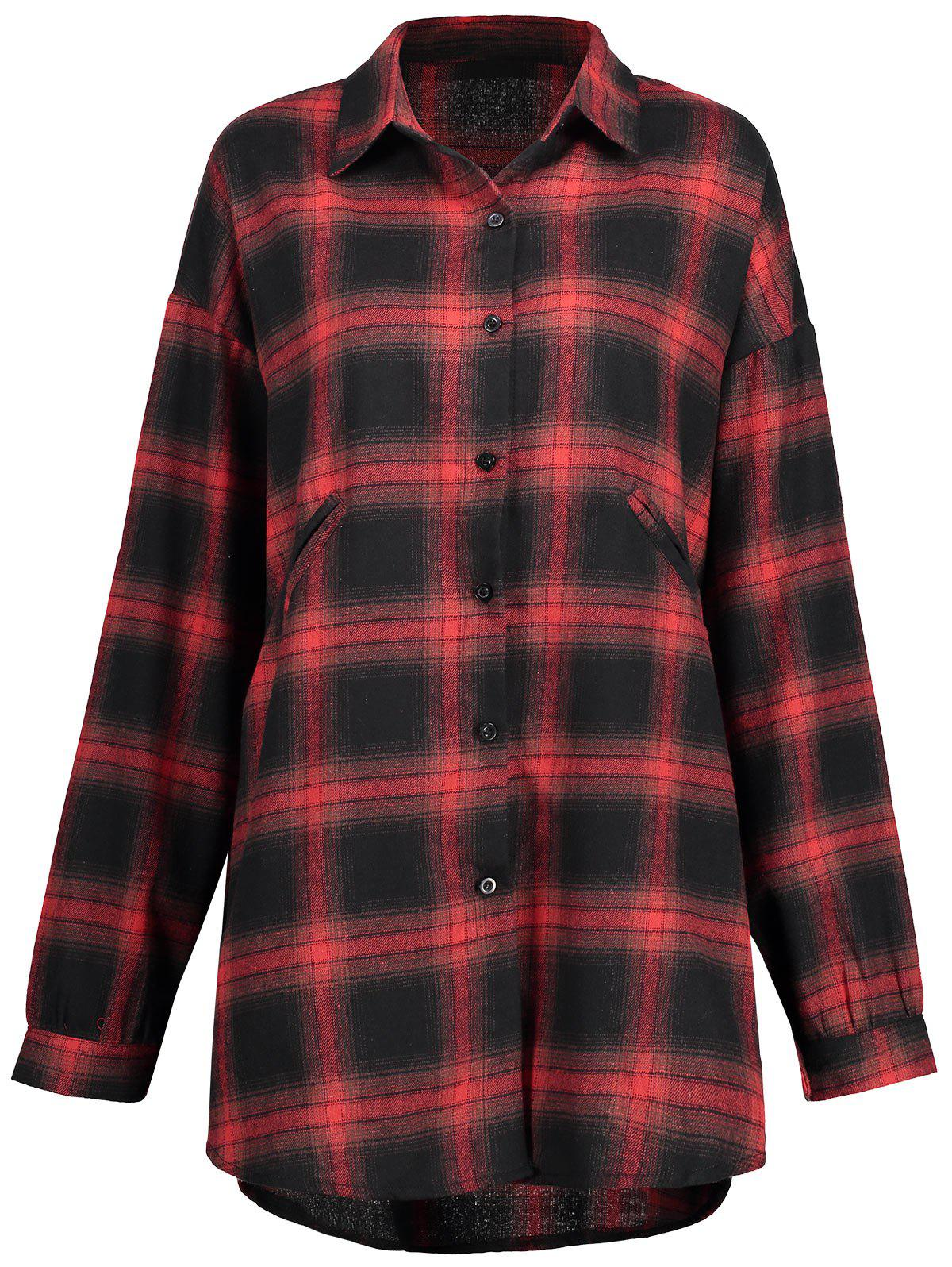 Hot Check Plus Size Button Up Shirt