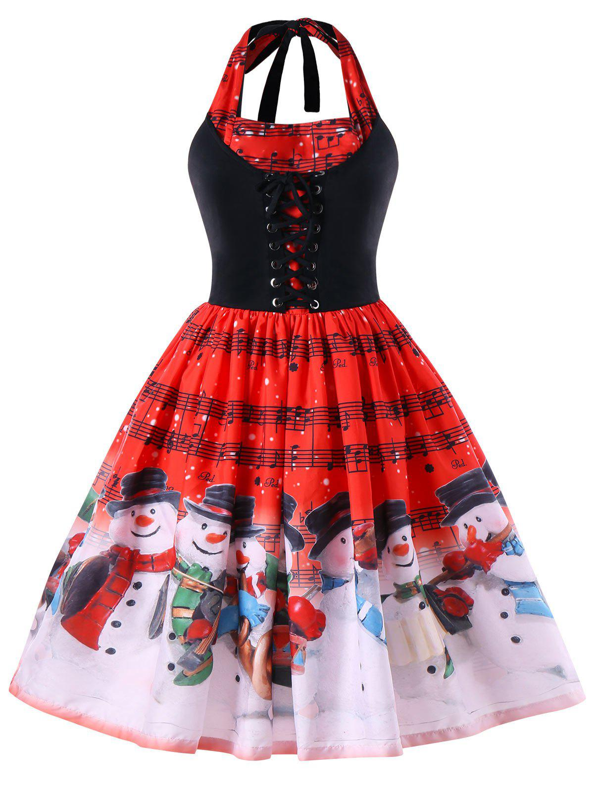 Christmas Plus Size Music Notes Halter Neck DressWOMEN<br><br>Size: 4XL; Color: RED; Style: Vintage; Material: Polyester; Silhouette: A-Line; Dresses Length: Mid-Calf; Neckline: Halter; Sleeve Length: Sleeveless; Pattern Type: Others; With Belt: No; Season: Fall,Spring; Weight: 0.3000kg; Package Contents: 1 x Dress;