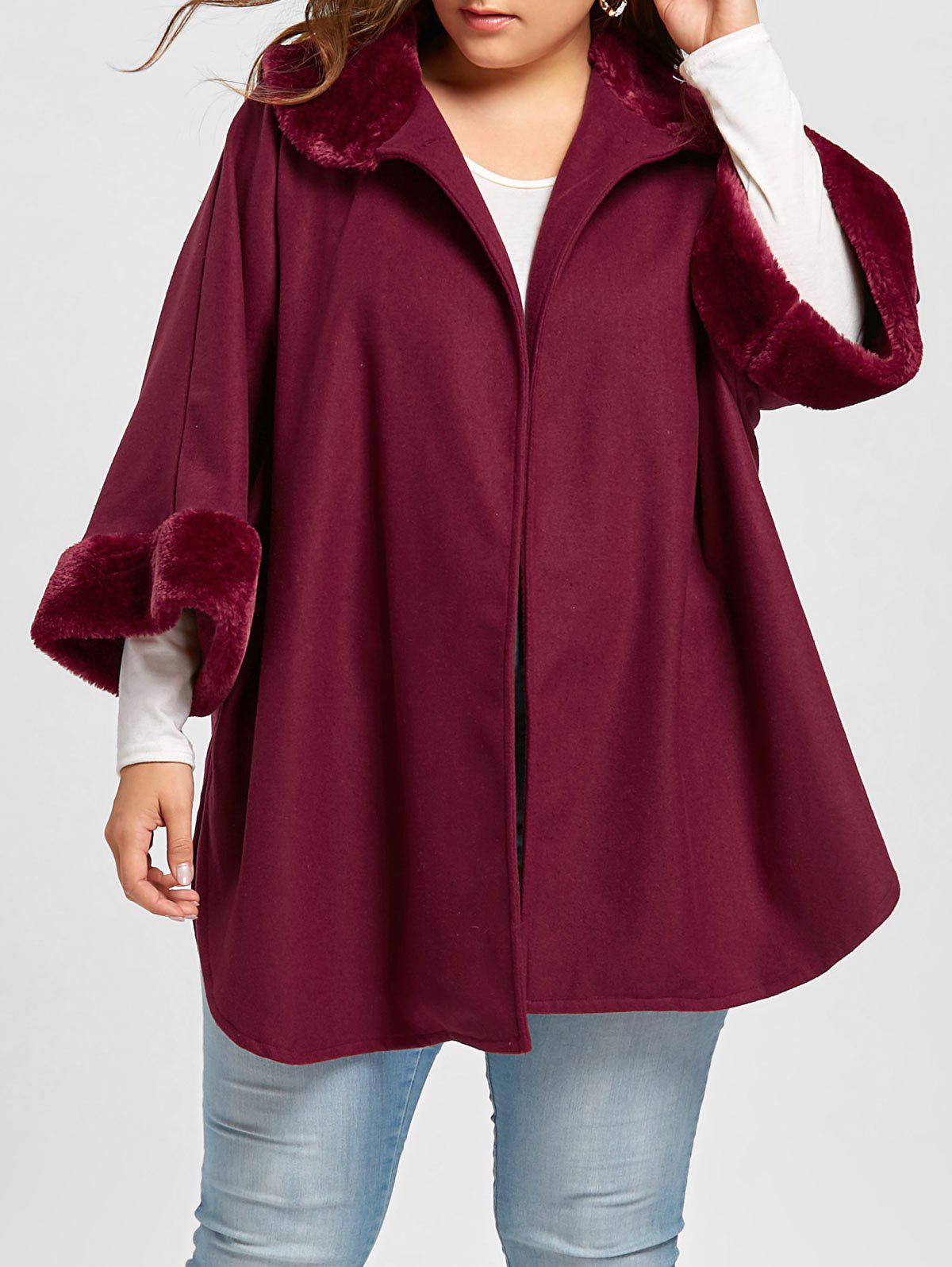 Store Plus Size Plush Hem Curved Coat