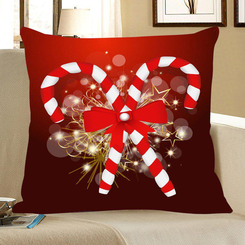 Christmas Candies Canes Patterned Throw Pillow CaseHOME<br><br>Size: W18 INCH * L18 INCH; Color: DEEP RED; Material: Linen; Fabric Type: Linen; Pattern: Printed,Star; Style: Festival; Weight: 0.0700kg; Package Contents: 1 x Pillow Case;