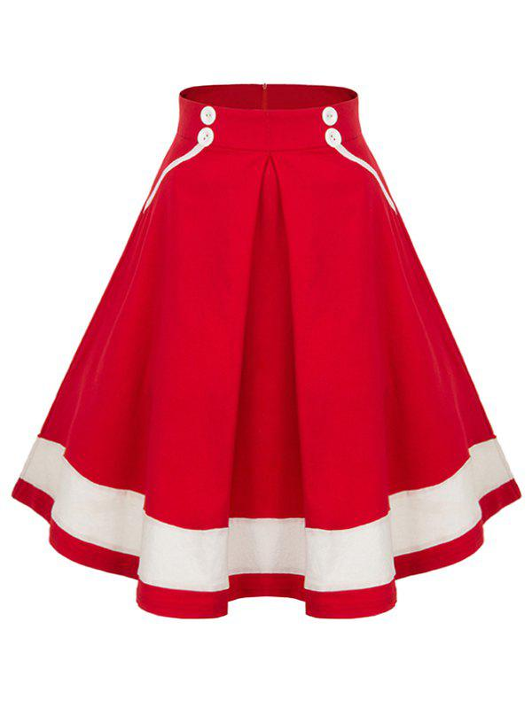 High Waisted Pleated Midi SkirtWOMEN<br><br>Size: XL; Color: RED; Material: Polyester,Spandex; Length: Mid-Calf; Silhouette: A-Line; Pattern Type: Patchwork; Embellishment: Button; Season: Fall,Spring; Weight: 0.2000kg; Package Contents: 1 x Skirt;