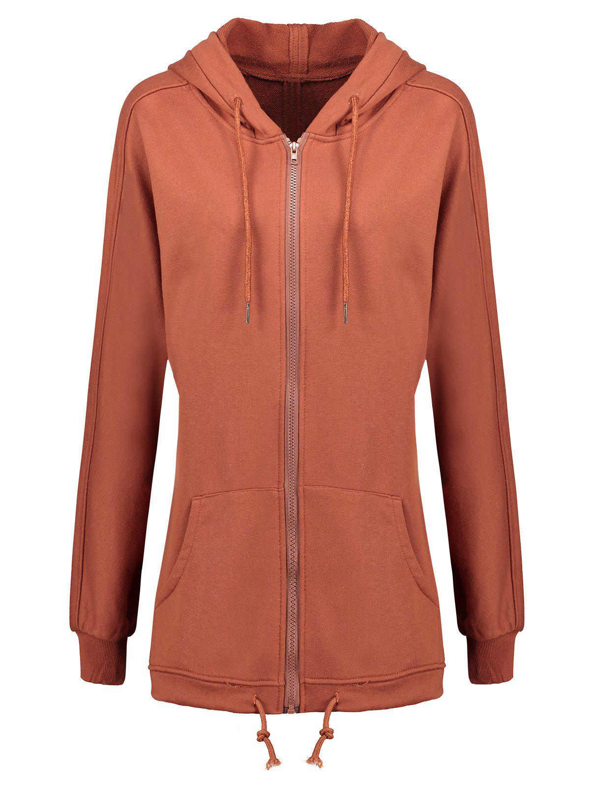 Discount Zip Up Plus Size Hooded Coat