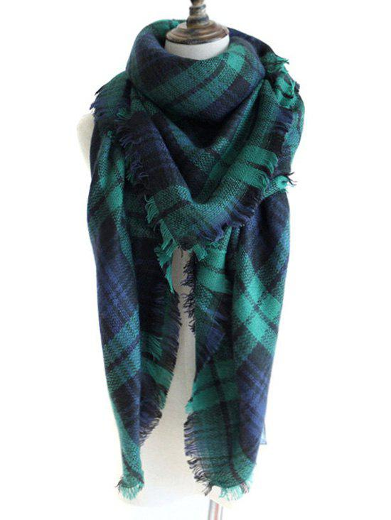 Outdoor Checked Pattern Artificial Wool Fringed Shawl ScarfACCESSORIES<br><br>Color: DEEP GREEN; Scarf Type: Shawl/Wrap; Scarf Length: 135-175CM; Group: Adult; Gender: For Women; Style: Fashion; Material: Acrylic; Pattern Type: Plaid; Season: Fall,Spring,Winter; Scarf Width (CM): 140CM; Length (CM): 140CM; Weight: 0.2400kg; Package Contents: 1 x Scarf;