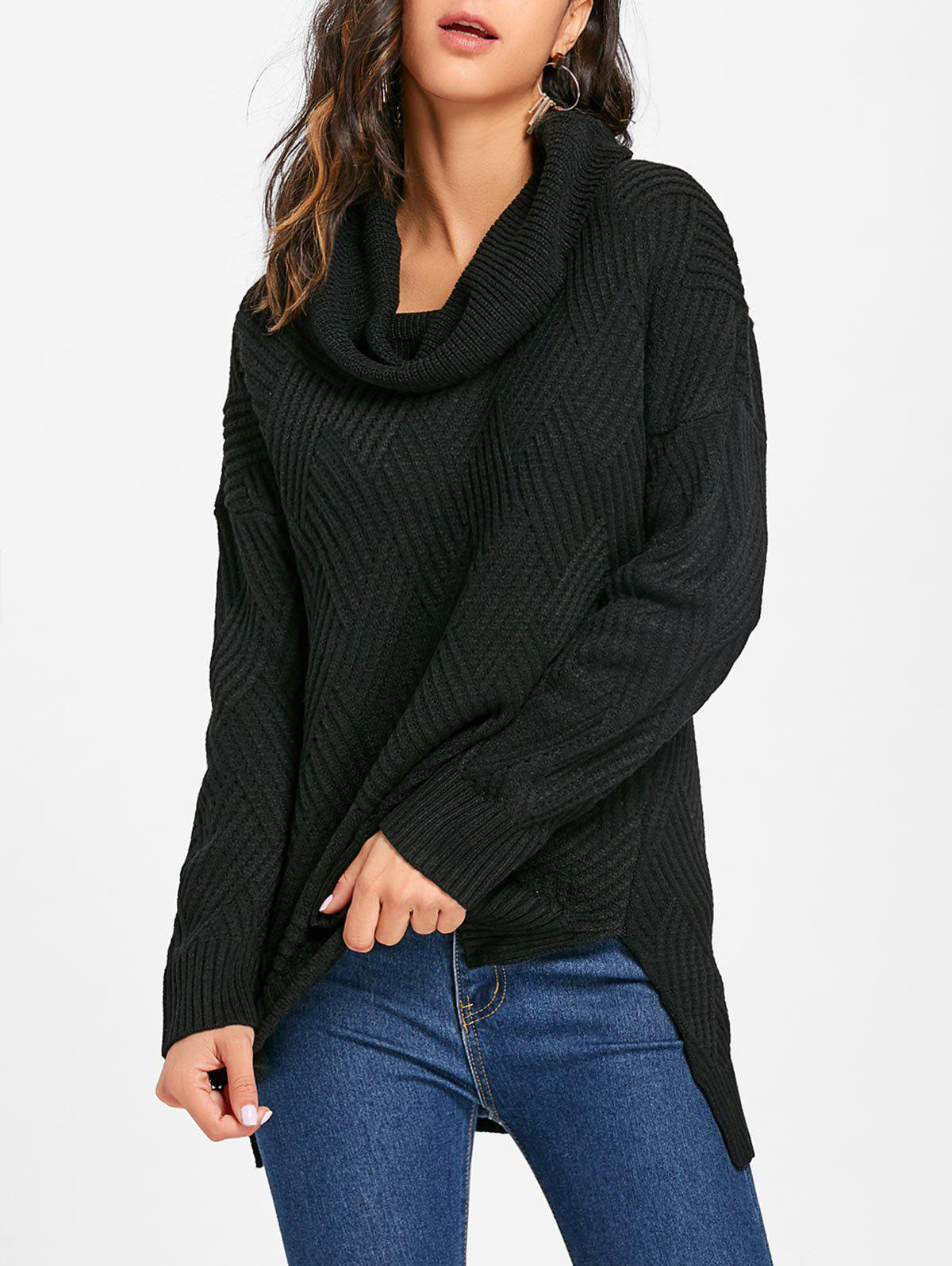 Latest Side Slit Cowl Neck Knitted Sweater