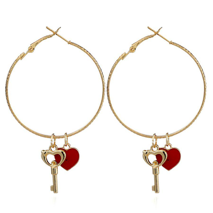 Heart Key Hoop Drop EarringsJEWELRY<br><br>Color: RED; Earring Type: Drop Earrings; Gender: For Women; Style: Trendy; Shape/Pattern: Round; Length: 6.6CM; Weight: 0.0400kg; Package Contents: 1 x Earring (Pair);