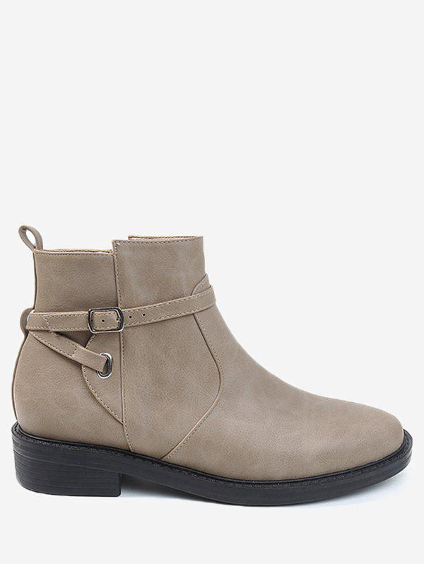 Best Round Toe Buckle Wrap Low Heel Ankle Boots