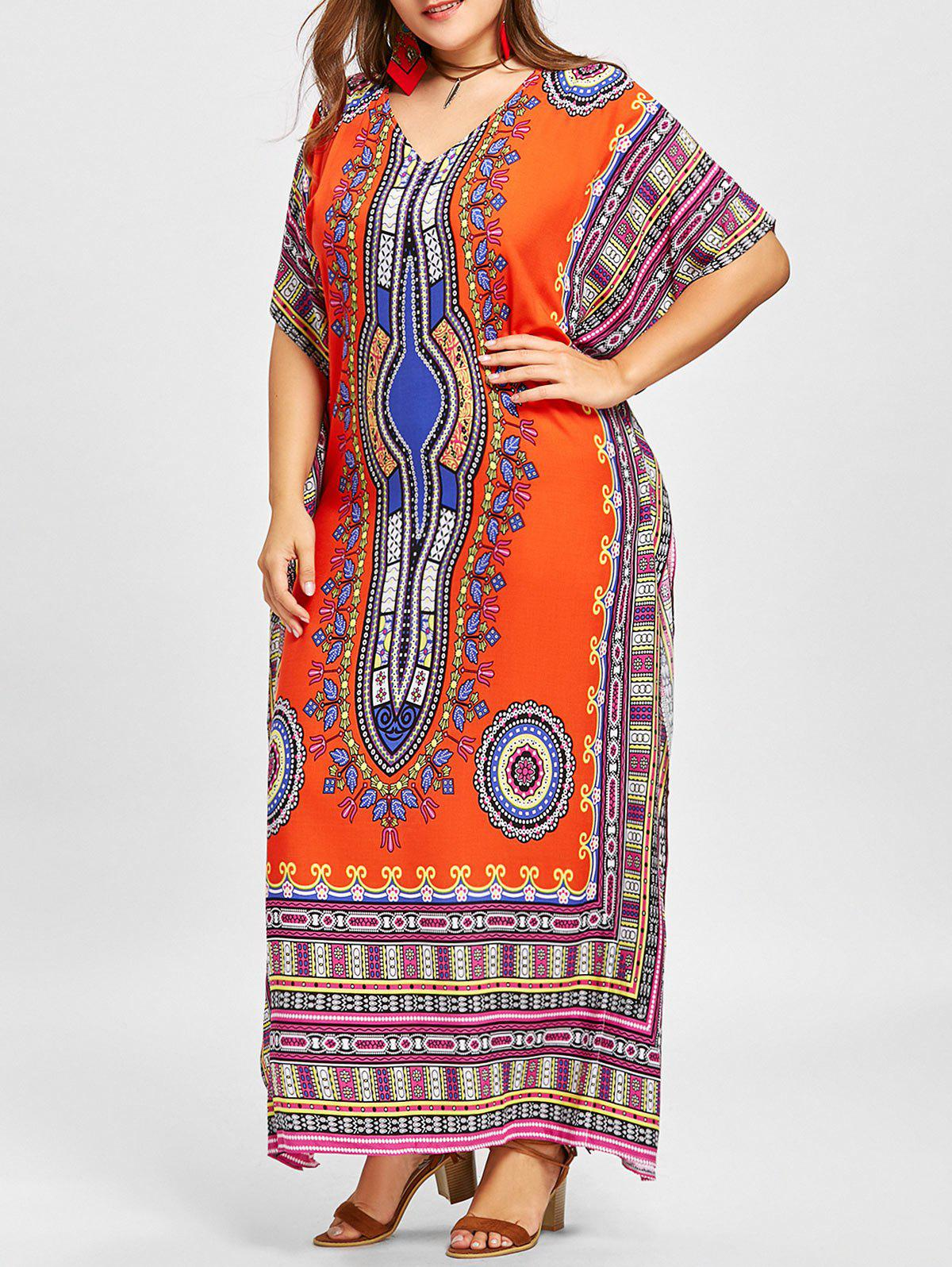 Outfit V Neck Ethnic Print Plus Size Poncho Dress