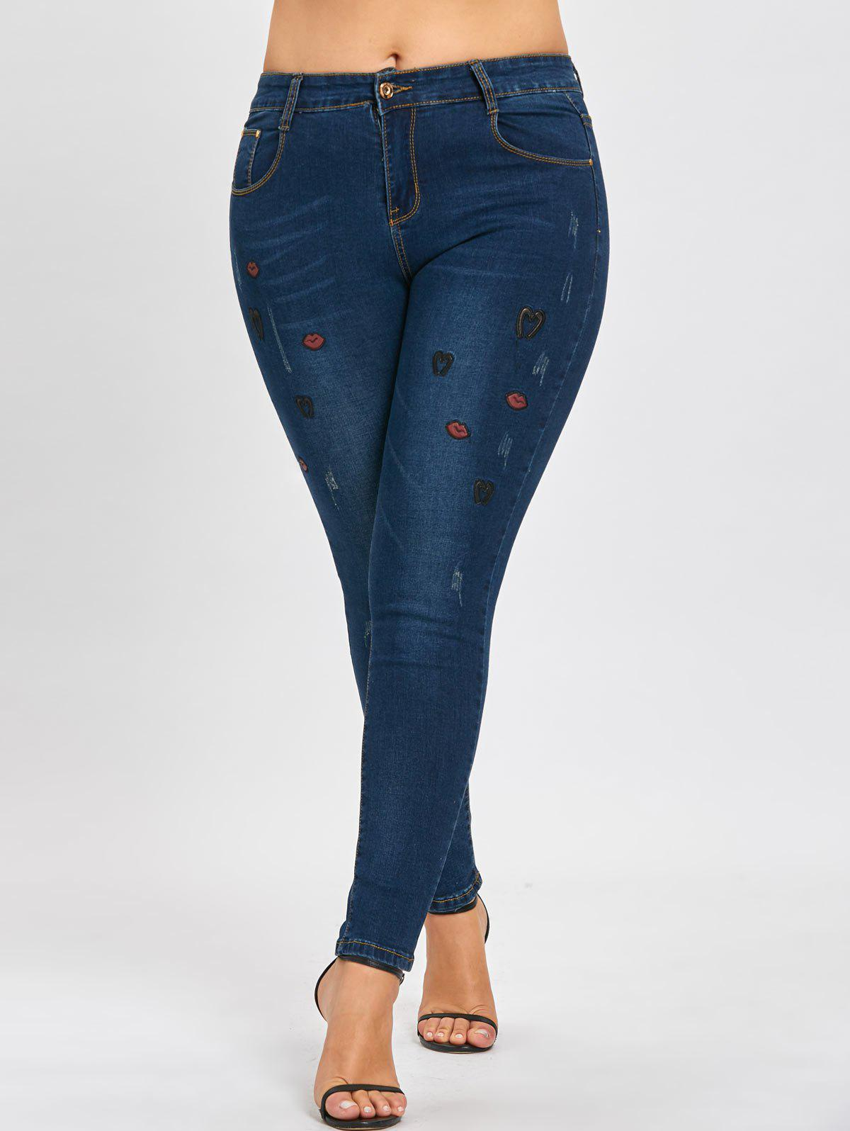 Sale Ripped Plus Size Lips Embroidered Jeans