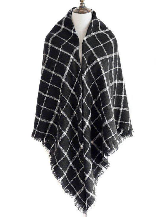 Discount Vintage Checkered Pattern Embellished Fringed Shawl Scarf
