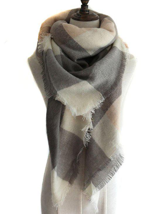 Online Vintage Checkered Pattern Artificial Wool Shawl Scarf