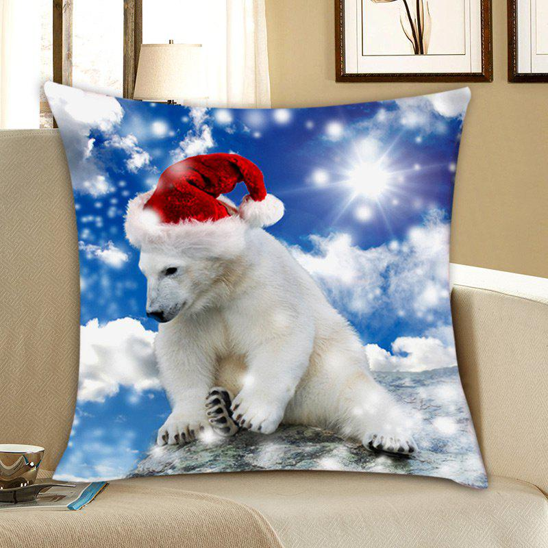 Bear with Christmas Hat Print Linen PillowcaseHOME<br><br>Size: W18 INCH * L18 INCH; Color: COLORFUL; Material: Linen; Pattern: Animal; Style: Festival; Shape: Square; Weight: 0.0700kg; Package Contents: 1 x Pillowcase;