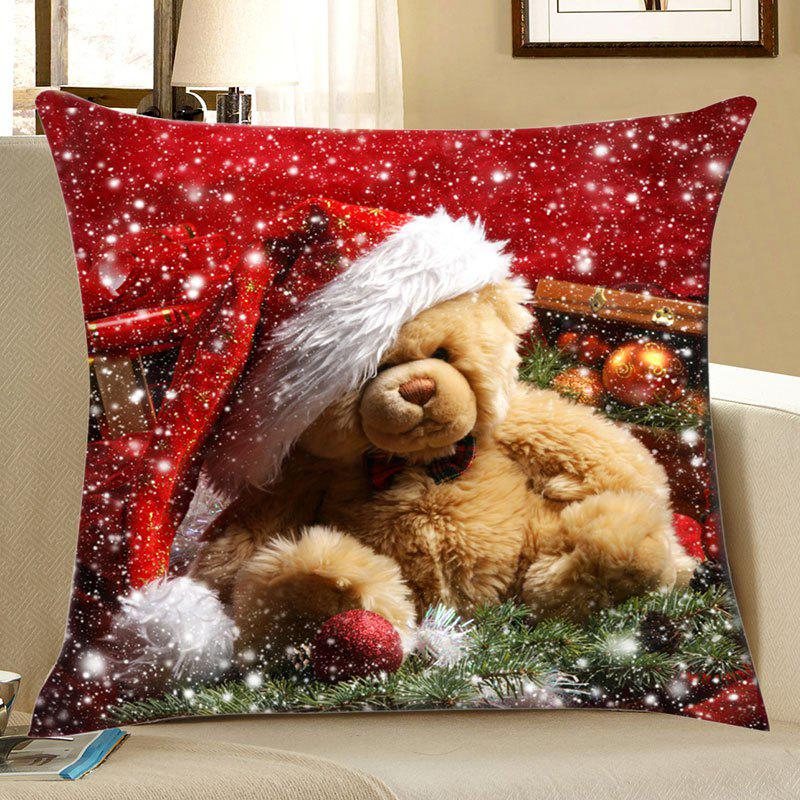 Christmas Toy Bear Snowflake Print Pattern Linen PillowcaseHOME<br><br>Size: W18 INCH * L18 INCH; Color: COLORFUL; Material: Linen; Pattern: Other,Snow; Style: Festival; Shape: Square; Weight: 0.0700kg; Package Contents: 1 x Pillowcase;
