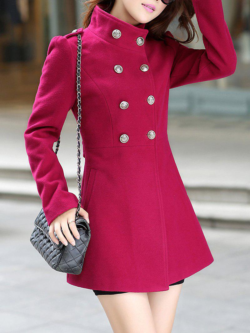 Chic Buttoned Stand Collar Skirted Coat