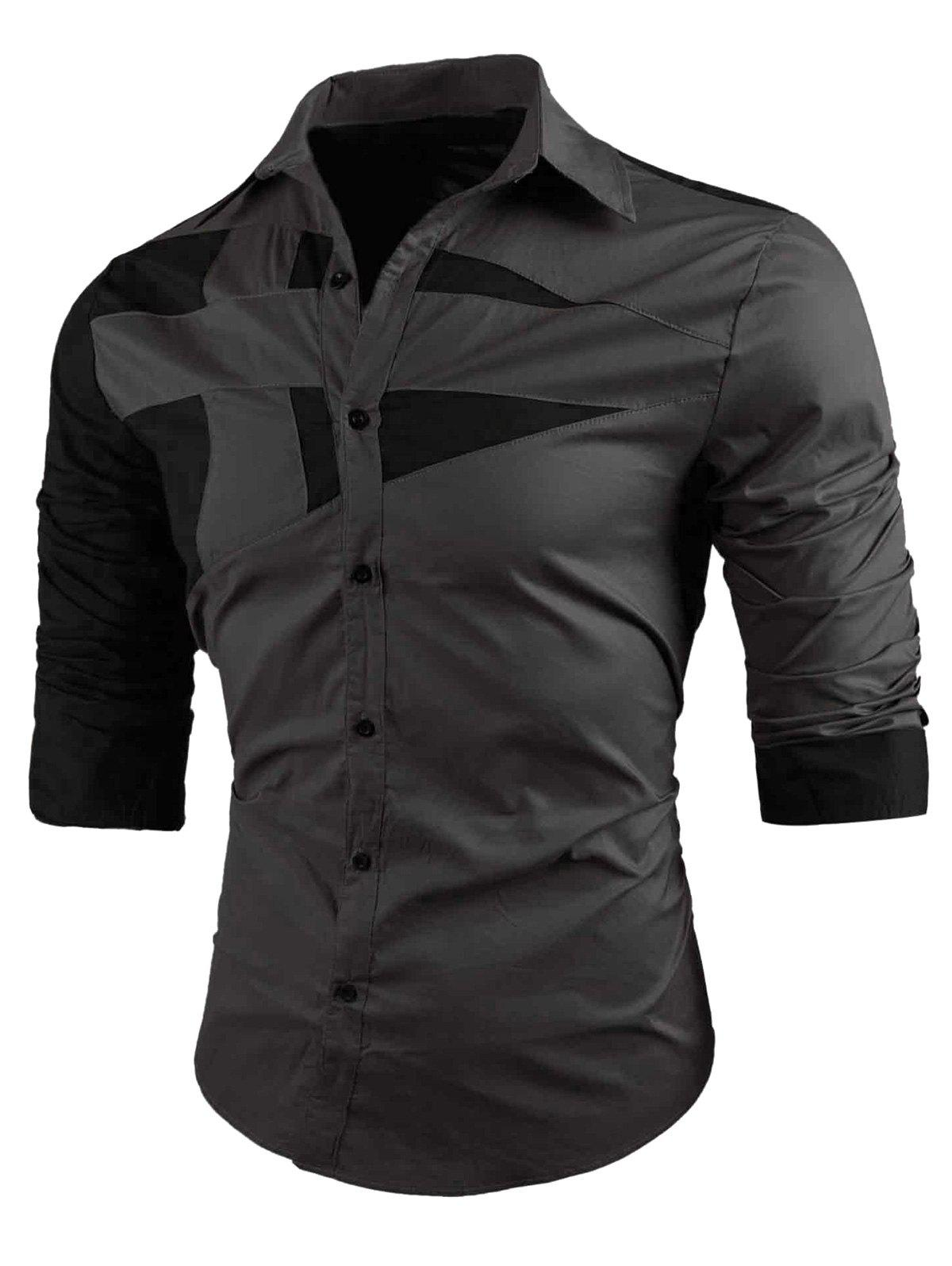 Button Up Long Sleeve Color Block ShirtMEN<br><br>Size: M; Color: GRAY; Shirts Type: Casual Shirts; Material: Cotton,Polyester; Sleeve Length: Full; Collar: Turn-down Collar; Pattern Type: Patchwork; Weight: 0.2350kg; Package Contents: 1 x Shirt;