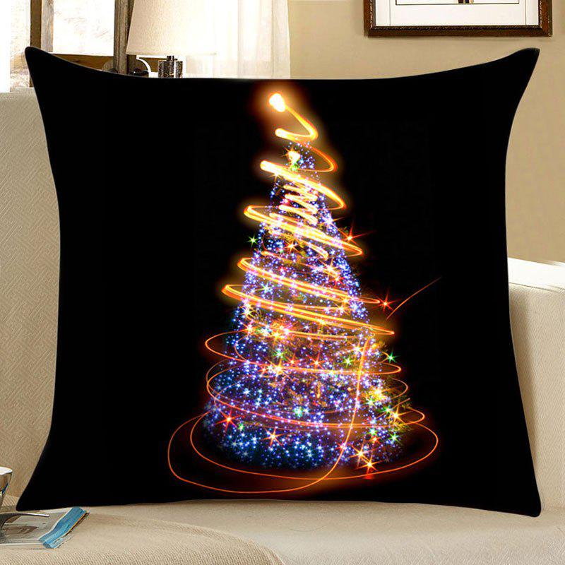 Starlight Christmas Tree Print Pattern Linen PillowcaseHOME<br><br>Size: W18 INCH * L18 INCH; Color: COLORFUL; Material: Linen; Pattern: Christmas Tree,Star; Style: Festival; Shape: Square; Weight: 0.0700kg; Package Contents: 1 x Pillowcase;