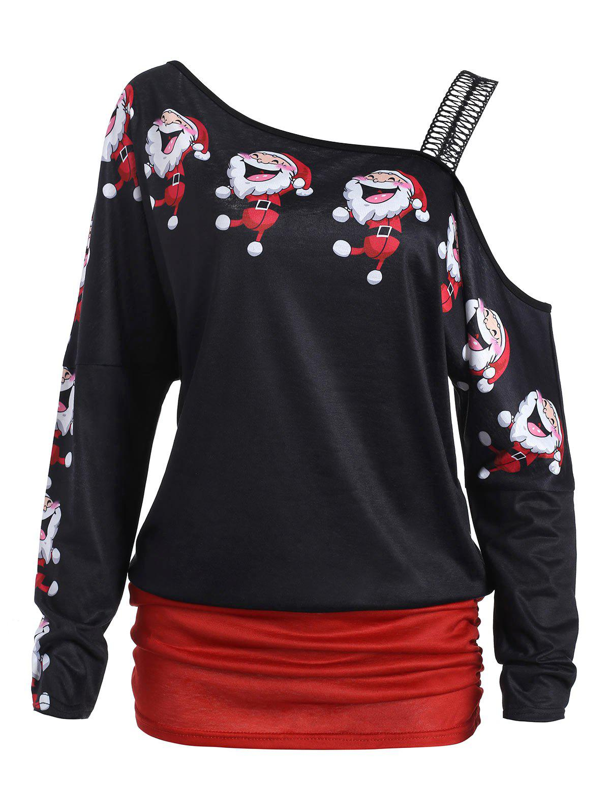 Santa Claus Laugh Print Cold Shoulder T-shirtWOMEN<br><br>Size: XL; Color: BLACK; Material: Polyester; Shirt Length: Regular; Sleeve Length: Full; Collar: Round Neck; Style: Fashion; Sleeve Type: Cold Shoulder; Pattern Type: Cartoon,Print; Season: Fall,Spring,Winter; Weight: 0.2200kg; Package Contents: 1 x T-shirt;