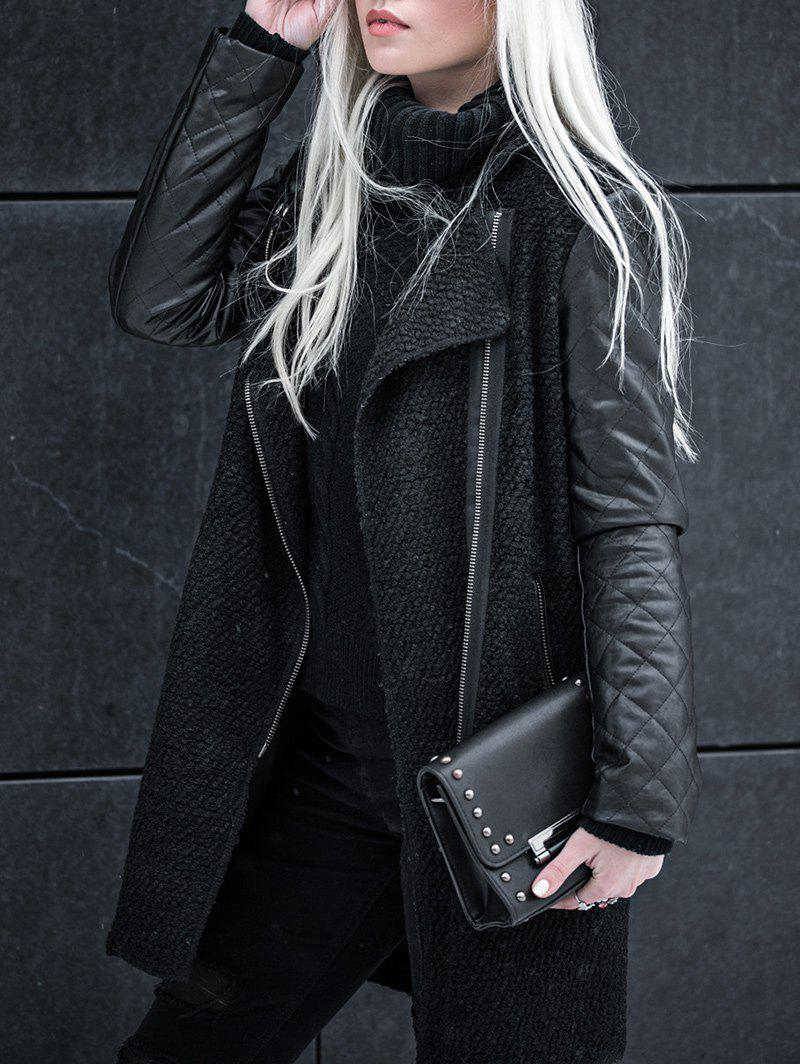 Chic Faux Leather Zipper Coat